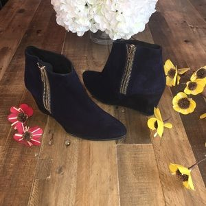 Free People Navy Blue Suede Bootie Size 40